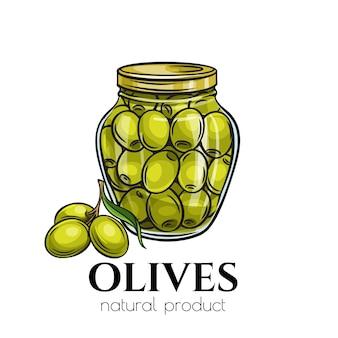 Ingeblikte olijven in glazen pot