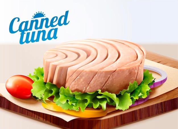 Ingeblikte tonijn op snijplank met sla in 3d-stijl