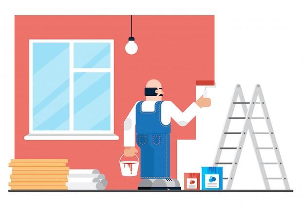 Ingehuurde man in uniform schilderij muren tijdens renovatie in modern appartement. huis of website die conceptenillustratie herstellen