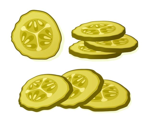 Ingelegde komkommerschijf geïsoleerd op een witte achtergrond. gemarineerde ingelegde geïsoleerde komkommer. illustratie.