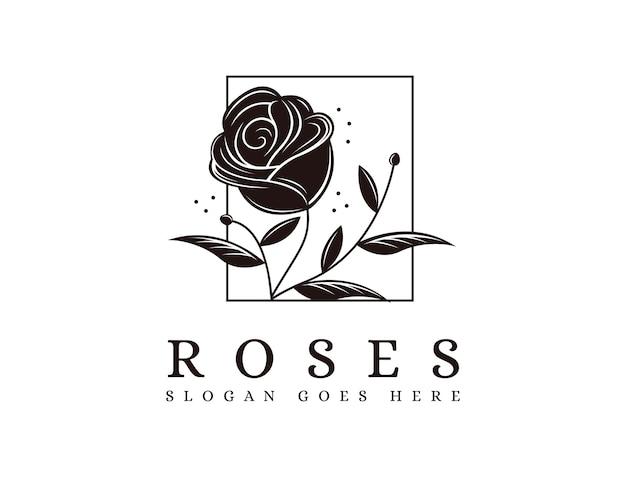 Ingelijst natuur roos logo icoon