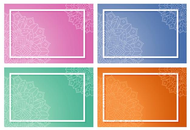 Ingelijste achtergronden met mandala-ontwerp