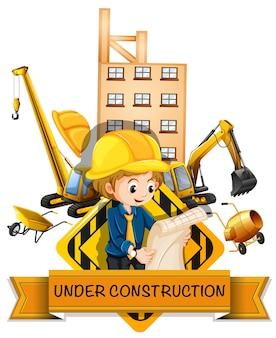 Ingenieur en gebouw in aanbouw