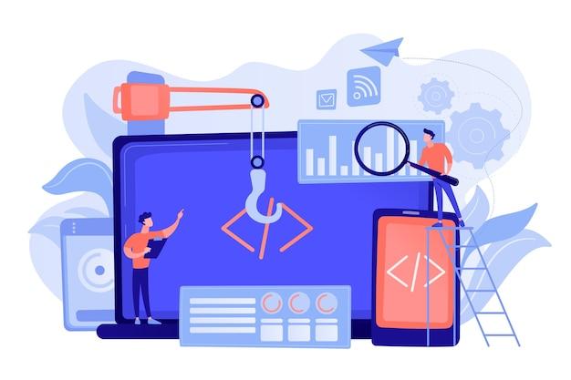 Ingenieur en ontwikkelaar met laptop- en tabletcode. cross-platform ontwikkeling, cross-platform besturingssystemen en software-omgevingen concept. roze koraal bluevector geïsoleerde illustratie