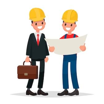Ingenieur en voorman bespreken ontwerpgebouw. vectorillustratie in een vlakke stijl.