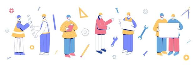 Ingenieur karakterverzameling. mensen in helmen met tekeningen in hun handen.