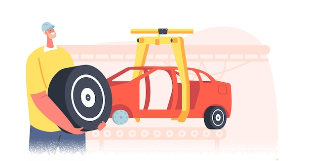 Ingenieur mannelijk personage met band of wiel in handen bij fabrieksopstelling auto op assemblagelijn. automotive industriële technologie, autoproductie, industriële automatisering. cartoon mensen vectorillustratie