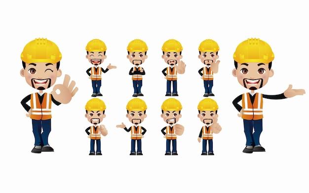 Ingenieur. mensen met verschillende poses.