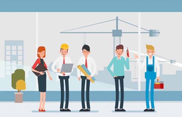 Ingenieur mensen teamwerk industrie karakter.