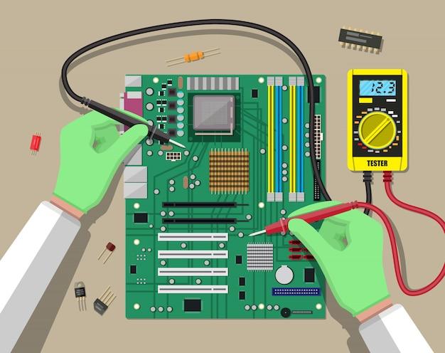 Ingenieur met multimeter controleert moederbord