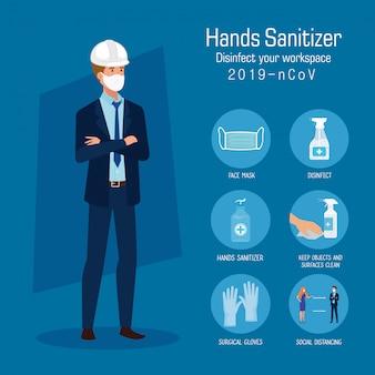 Ingenieur met tips voor het voorkomen van ontsmettingsmiddelen met masker en handen