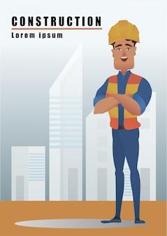 Ingenieur met werknemer van de bouwstructuur