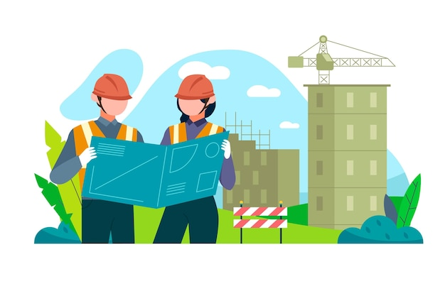 Ingenieurs die aan de bouw werken