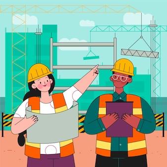 Ingenieurs die aan geïllustreerde bouw werken