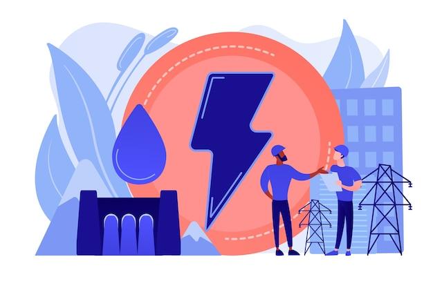 Ingenieurs die bij waterkrachtdam werken die vallende waterkracht produceren