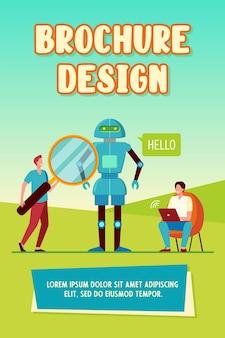Ingenieurs die een robotbrochuremalplaatje maken