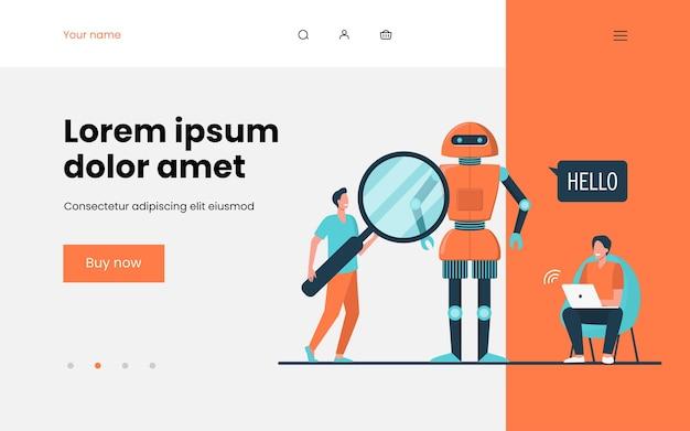 Ingenieurs die robot maken. humanoïde spreken hallo, mannen met laptop en vergrootglas. vlakke afbeelding. robotica, engineering, innovatieconcept websiteontwerp of landingswebpagina
