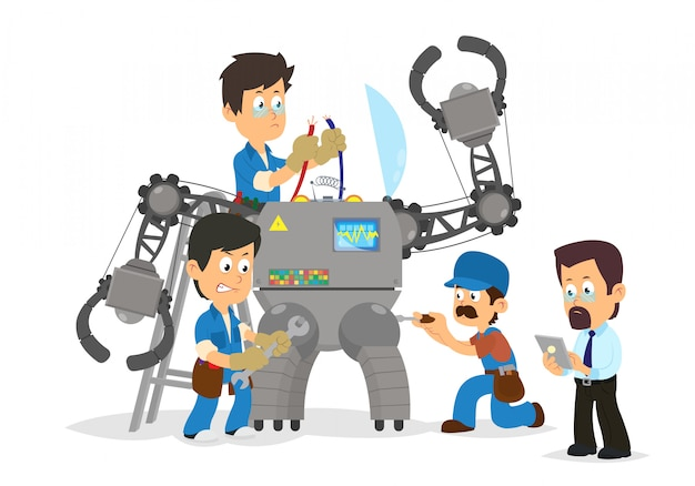 Ingenieurs en programmeurs ontwikkelen, verzamelen en programmeren een enorme robot.