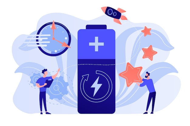 Ingenieurs met batterij opladen, klok en sterren met raket. snellaadtechnologie, snellaadbatterijen, nieuw batterij-engineeringconcept