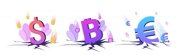 Ingesteld in prijsvaluta vallen bitcoin dollar en euromunten financiële crisis faillissement beleggingsrisico concepten collectie horizontale kopie ruimte