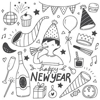 Ingesteld op nieuwjaar doodles