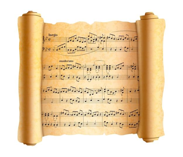 Ingewikkelde abstracte melodienota's over oude getextureerde scroll op wit