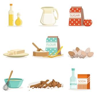 Ingrediënten en keukengerei en gebruiksvoorwerpen bakken verzameling van realistische cartoon illustraties met koken gerelateerde objecten