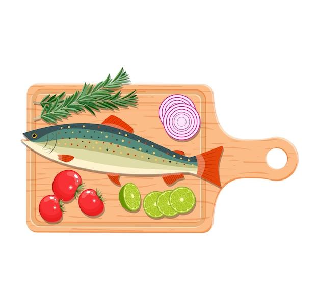 Ingrediënten en kruiden voor het koken van vis