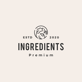 Ingrediënten vintage logo pictogram illustratie