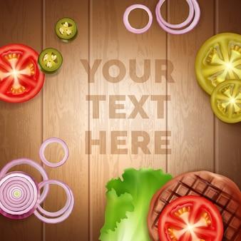 Ingrediënten voor burger met tomaat, ui, sla, vlees, jalapenos en ruimte voor uw tekst. geïsoleerd op houten tafel achtergrond, bovenaanzicht