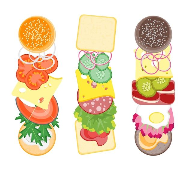 Ingrediënten voor hamburgers en sandwiches