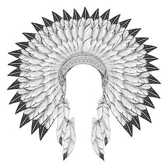Inheems amerikaans indisch hoofddeksel met veren