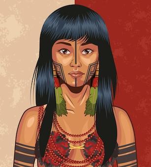 Inheems meisje met traditionele doek