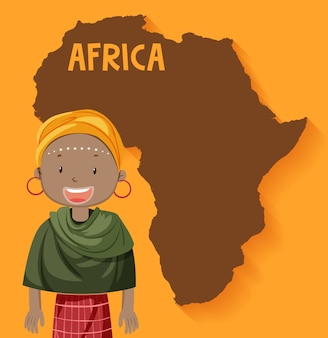 Inheemse afrikaanse stammen met kaart op de achtergrond