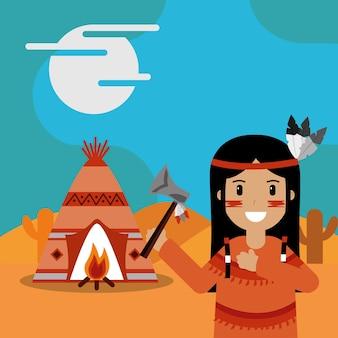 Inheemse amerikaan met bijl