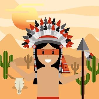 Inheemse amerikaan met speer in hand bij woestijnlandschap