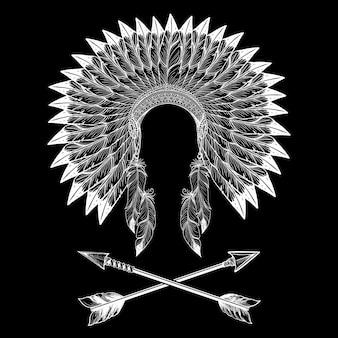Inheemse amerikaanse indische oorlogsbonnet