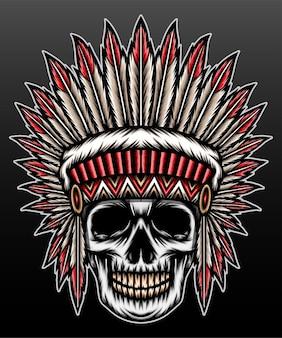 Inheemse amerikaanse schedel geïsoleerd op zwart