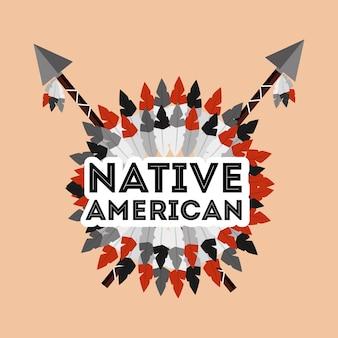Inheemse amerikaanse spears gekruist en veren ornament