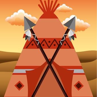 Inheemse amerikaanse tipi met speren gekruist in de deur