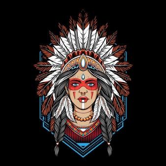 Inheemse amerikaanse vrouwenillustratie