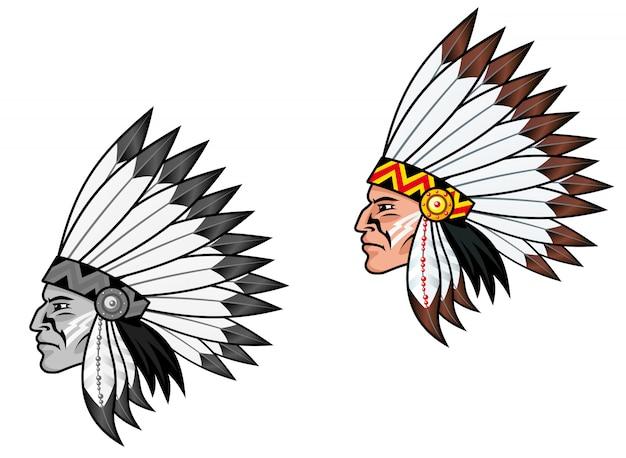 Inheemse bevolking in klederdracht voor tattoo-ontwerp