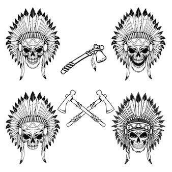 Inheemse indiaanse opperhoofdschedel met gekruiste tomahawks