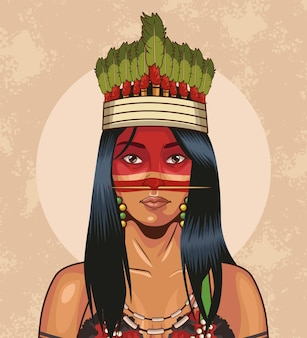 Inheemse vrouw met traditionele kroon