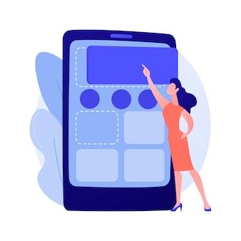 Inhoud beheer. vrouw advertentie plaatsen in sociale media netwerken plat vrouwelijk karakter. cms, digitale marketing, internet bloggen concept illustratie