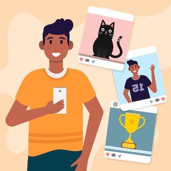 Inhoud delen op sociale media concept