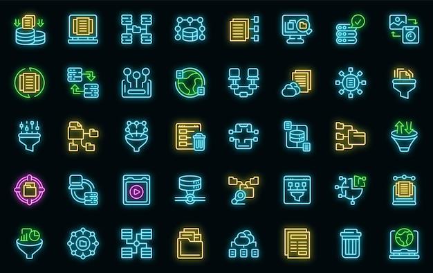 Inhoud filter pictogrammen instellen vector neon
