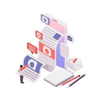 Inhoud maken voor blogconcept met menselijk karakter en briefpapier 3d isometrische illustratie