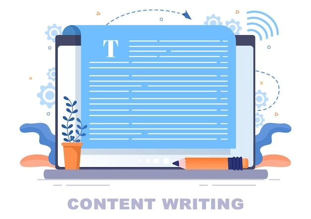 Inhoud schrijver of journalist achtergrond vectorillustratie voor kopiëren schrijven, onderzoek, ontwikkeling idee en roman of boek script in vlakke stijl