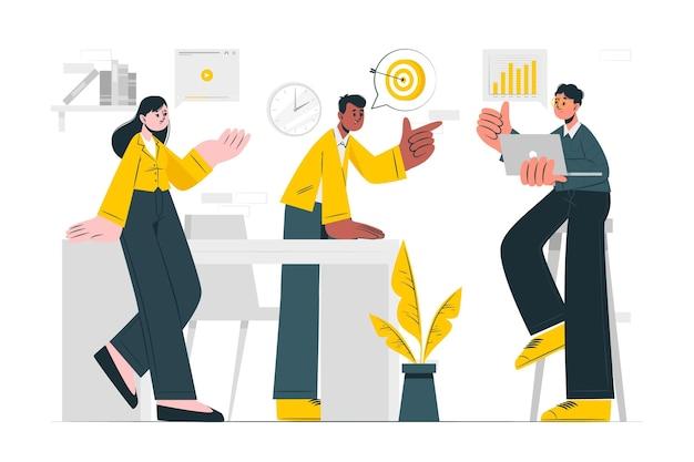 Inhoud team concept illustratie